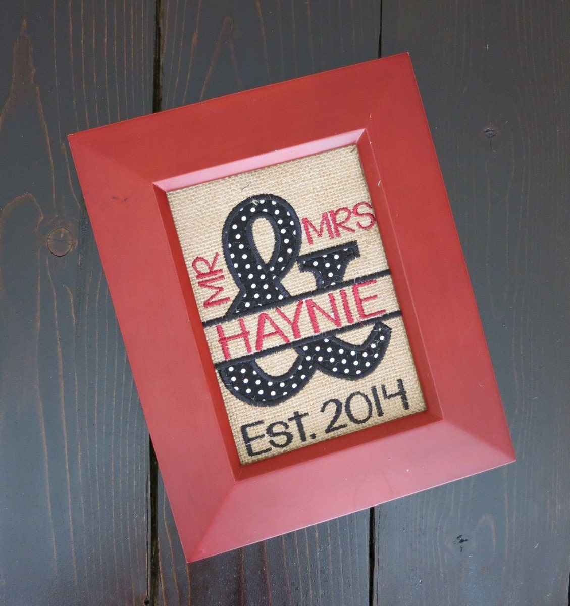 Personalized Mr & Mrs Burlap Decor Ready To Frame Home