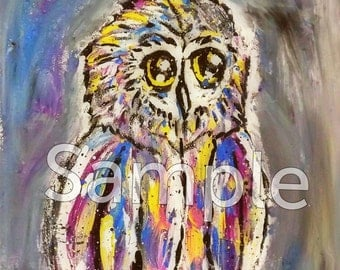 Very Colorful Cute Owl Painting