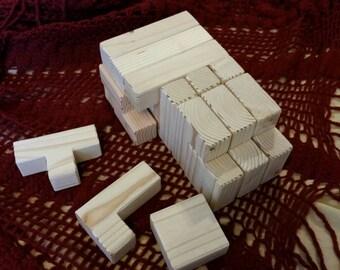 Tetris style waldorf wood blocks in multiple shapes/ Douglas fir