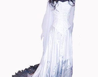 Costume cartoon Corpse bride. Cosplay. Halloween.