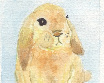 Watercolor painting bunny, nursery wall art, baby boy nursery art, bunny art, blue nursery, 8 x 10