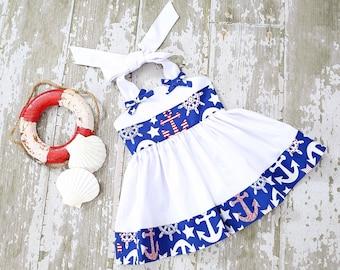 Little girl's sundress, nautical theme