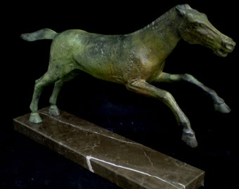 Horse running aged bronze statue marble based