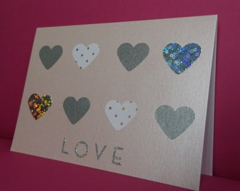 Pearlescent Pink Card With Silver Hearts