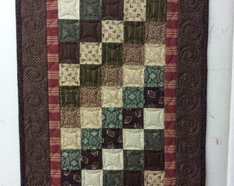 Pieced and custom quilted table runner