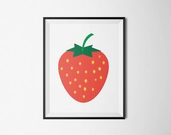 STRAWBERRY fruit frukt jordgubbe retro Art print A3