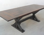 8 ft Breadboard Extension Table, Table, Extension Table, Dining Table, Reclaimed Wood, Salvaged Pine, Rustic, Trestle Table, Handmade