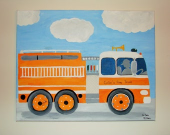 "Colin's firetruck...acrylic firetruck painting on canvas for boy's room...16 x 20 "", can be made in different colors and personalized..."