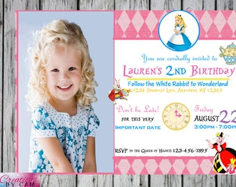 Alice In Wonderland birthday invitation/Downloadable or Printed Invitation