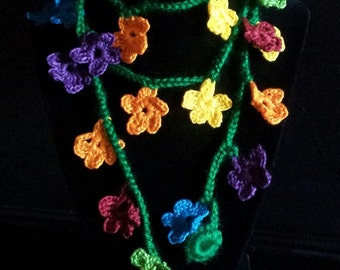 Colourful crocheted lariat necklace