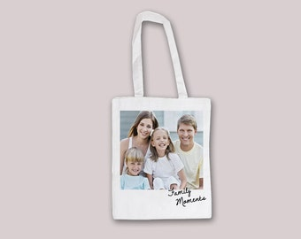 Poleroid Custom Customizable Personalized Your Photo Picture - Tote Bag Reusable shopping bag 100% Cotton