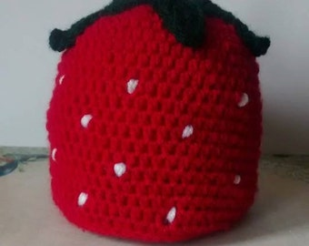 Crochet Baby Strawberry Hat/photo prop/ gift/ winter hat