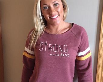 She is STRONG proverbs 31:25 eco fleece sweatshirt burgundy size large