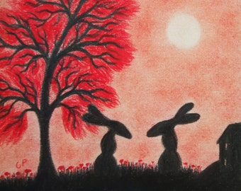 Rabbit Card, Moon Hare Card, Silhouette Art Card, Romantic Hares, Tree Rabbits Card, Bunny Card, Hare Birthday Card, Two Rabbits