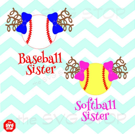 Baseball Softball Sister Pigtails With Curls Design Svg And
