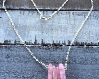 "Rose quartz four stone pendant with 19"" sterling silver chain"