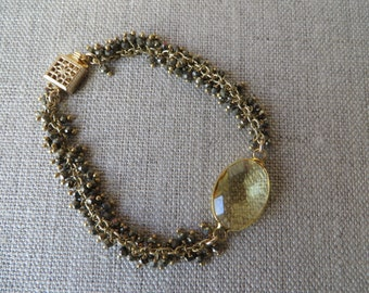 Lemon Quartz Gold Fringe Bracelet