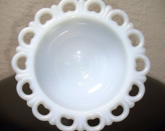 Vintage Milk Glass Footed Bowl with Scalloped Lace Edging, Milk Glass Serving Bowl