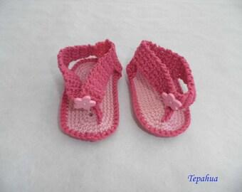 baby Flip flops made in pink cotton