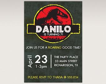 Dinosaur Dino mite Jurassic Party Birthday Party Invitation #371