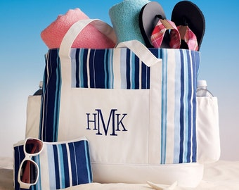 Blue and White Striped Beach Bag (c118-1159) - Free Personalization