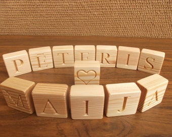 Personalized wooden blocks, handmade gift, wood name blocks, natural nursery home decor, baby name blocks, eco friendly toy, wooden toy