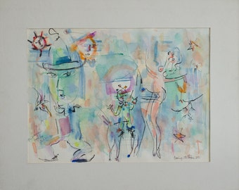 Irving Stettner Original Watercolor Abstract Expressionist Painting, 1982. Various figures, signed and inscribed.