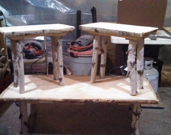 White birch coffee table and end tables