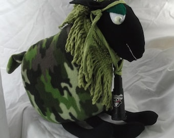 Handmade Rambo soft toy sheep made from recycled materials