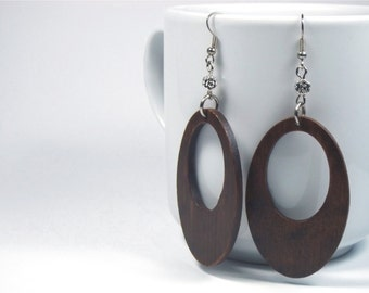Wooden Earrings, Natural Jewelry, Wooden Jewelry, Handmade earrings, Wooden Jewellery, Brown Earrings, Gift for Women, Express Shipping