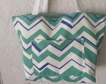Blue Seafoam Green Chevron Beach Tote Canvas Bag