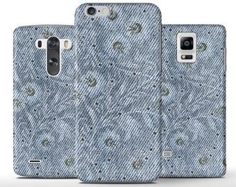Denim Texture Vintage Shabby Flowers Hard Case Cover iPhone 5 5s 5c 6 6+ Plus Samsung Galaxy S6 S4 S5 Note 3 4 Sony Xperia Z Z1 Z2 Z3 Lg G3