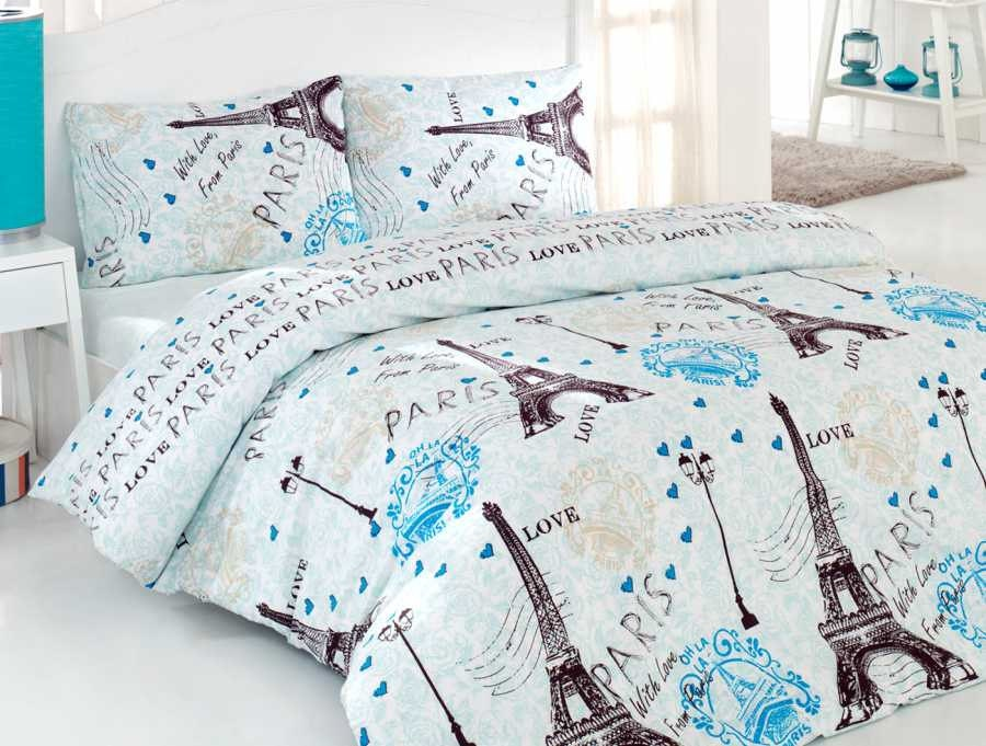 100 Cotton 4pcs Blue Paris Eiffel Full Queen Quilt Duvet