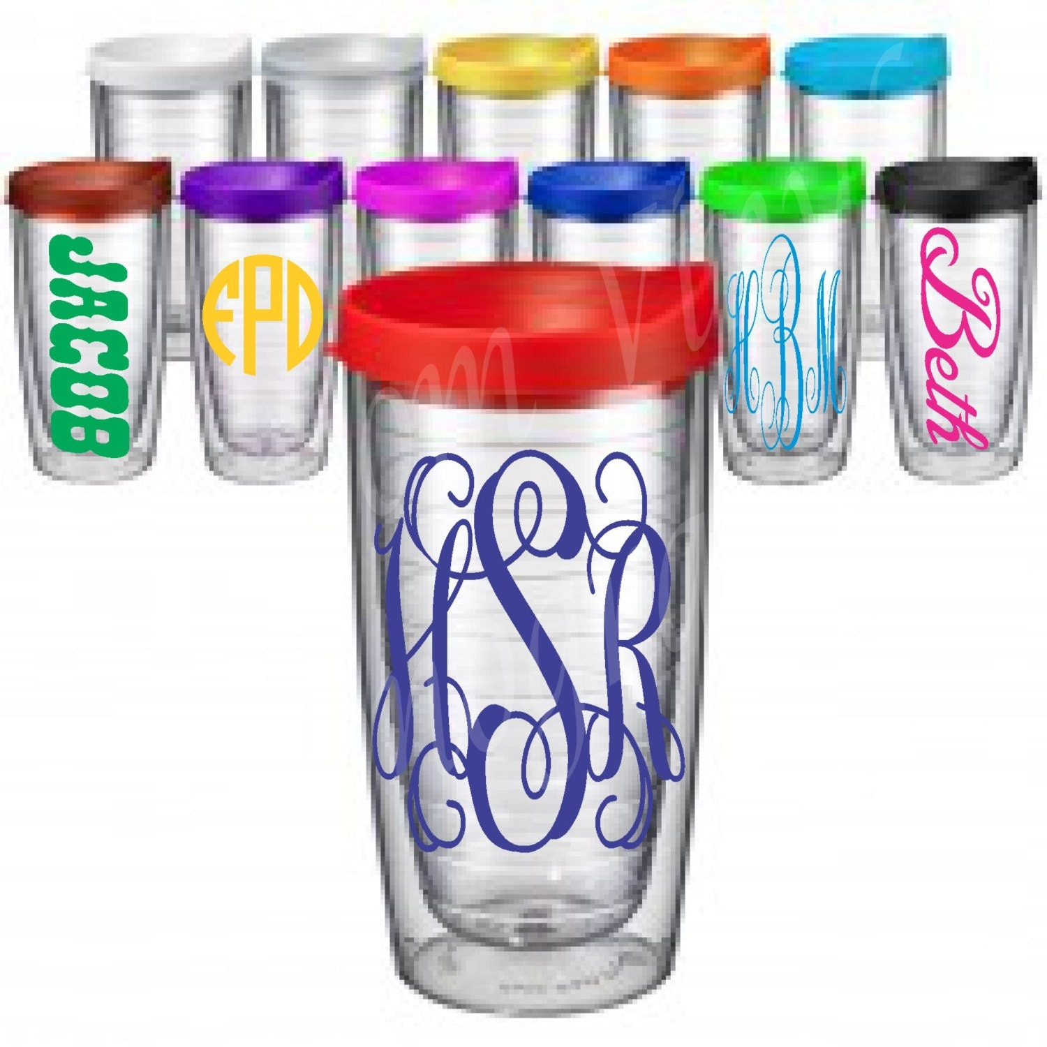 Monogrammed 16 Oz Double Wall Insulated Clear Acrylic Tumbler