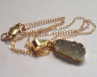 Druzy Necklace Gold Druzy Agate Necklace 14k Gold Filled Necklace Simple Necklace Small Gray White Druzy Gold Dipped Necklace