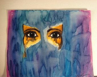 Mask, watercolor sketch, 8x10
