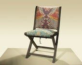 Set of Four Ikat Upholstered Folding Chairs