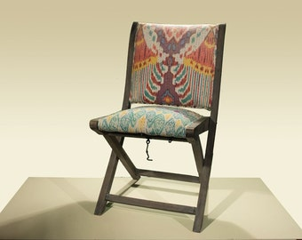 Set of Eight Ikat Upholstered Folding Chairs