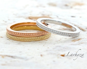 14K solid gold handmade stackable wedding band