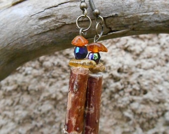 Wooden and amber earrings