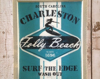 Folly Beach Charleston SC Surf Wood Sign