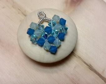 Valentine Crystal heart, beaded, Swarovski  6 mm bicones, seed beads, pendant