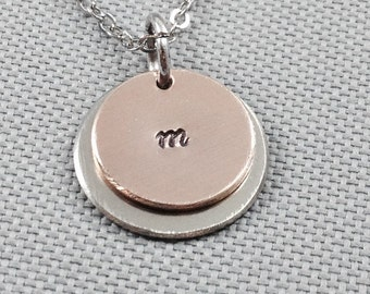 Hand stamped necklace, personalized necklace, long necklace, circle necklace, wedding jewelry, gift for mom, initial necklace, initial charm