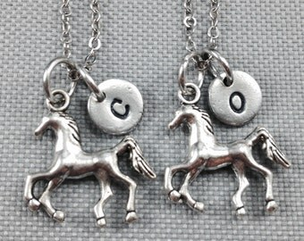 Best friend necklace, horse necklace, friendship necklace, bff necklace, horse charm necklace, animal necklace, friend necklace