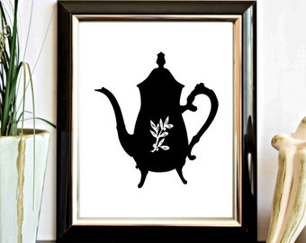 Instant Download - Coffee / Tea Pot Silhouette Printable - Kitchen Wall Decor - Wall Art - Decor Poster - Digital Artwork