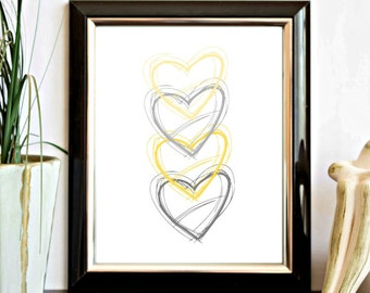 Yellow & Gray Hearts Printable Wall Art - Wall Decor Poster - Kids Room - Nursery - Office Decor - Instant Download