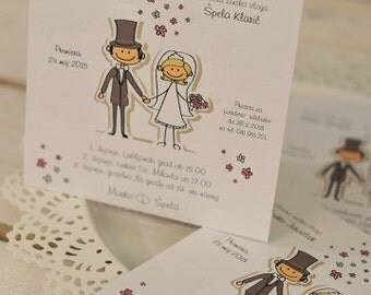 Puzzle Wedding Invitations with a married couple: Set of 10 pieces!