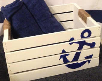 Anchor storage crate with rope handles