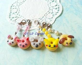 Handmade bunny kitty donut resin clay gift bag phone charm accessories