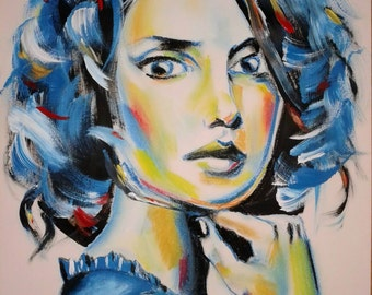 Mixed Media Art Pastel Portrait Acrylic Painting Blue Wall Art by Gkikas